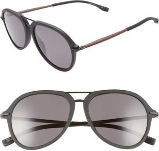 BOSS 55mm Polarized Aviator Sunglasses