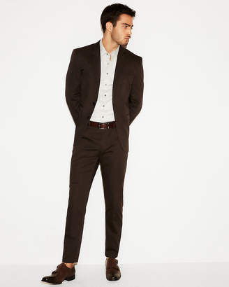 Express Slim Brown Cotton Sateen Suit Jacket