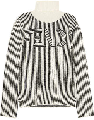 Striped Knitted Turtleneck Sweater - Black