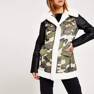 River Island Khaki camo faux fur trim jacket