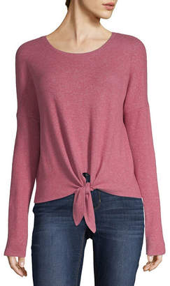 Arizona Long Sleeve Scoop Neck Knit Blouse-Juniors