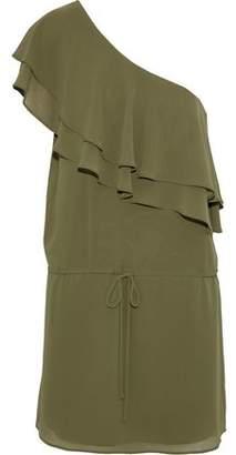 Haute Hippie One-Shoulder Ruffled Crepe De Chine Mini Dress