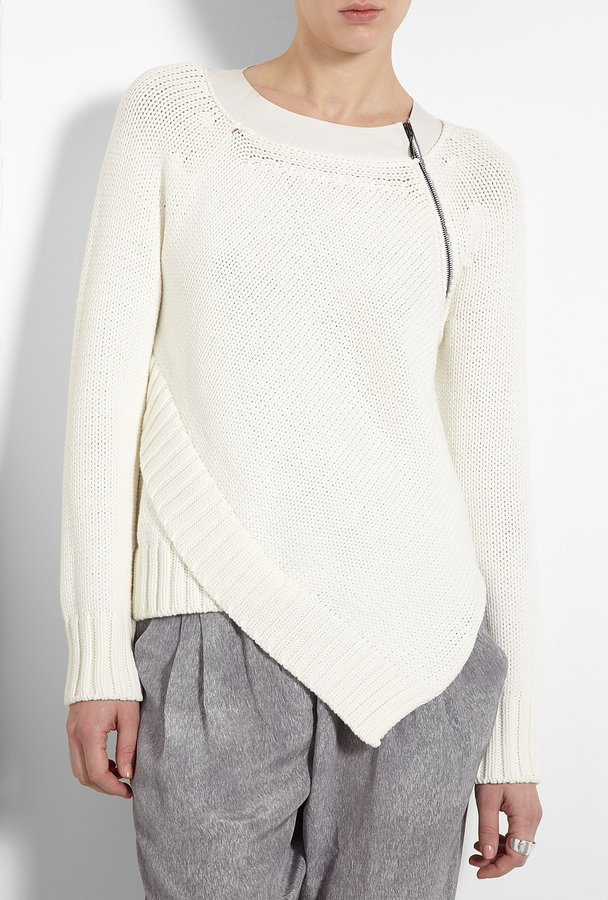 Sportmax White Panerea Leather Trim Chunky Knit