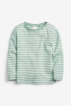 Next Girls Mint Pointelle Long Sleeve T-Shirt (3mths-7yrs) - Green