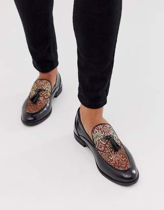 House Of Hounds House of Hounds clash tassle loafers in red brocade
