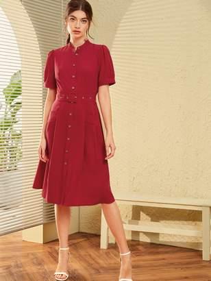 Shein Button Front Pocket Detail Belted Shirt Dress