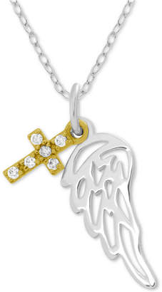 """Symbols of Strength Angel Wing & Cross 18"""" Pendant Necklace in Gold-Plate & Fine Silver-Plate"""