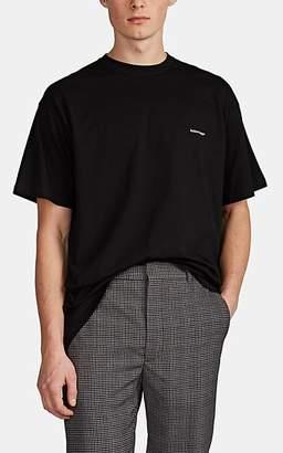 Balenciaga Men's Logo Cotton Oversized T-Shirt - Black