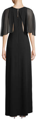 Halston Caplet-Sleeve Slit-Leg Evening Gown
