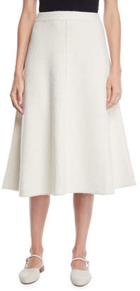 Co A-Line Felted Wool Knit Midi Skirt