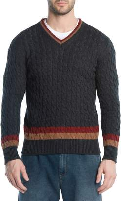 Eleventy Cableknit Cashmere V-Neck Sweater