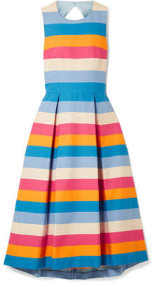 Carolina Herrera Tie-back Striped Cotton And Silk-blend Midi Dress - Blue