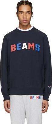 Champion x Beams Navy Logo Pullover $160 thestylecure.com