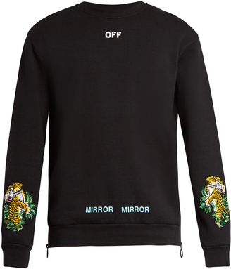 OFF-WHITE Tiger-embroidered cotton sweatshirt $460 thestylecure.com