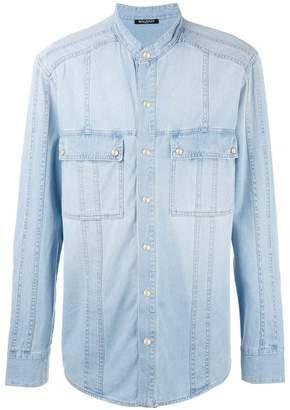 Balmain collarless denim shirt