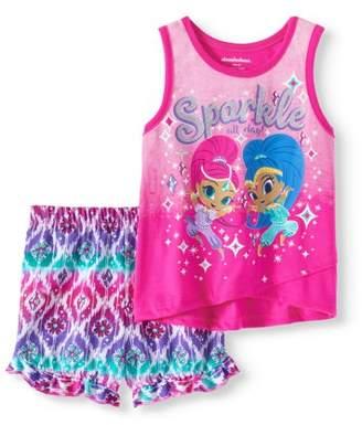 Nickelodeon Shimmer & Shine Toddler Girl Tank Top & Ruffle Hem Twill Shorts, 2pc Outfit Set