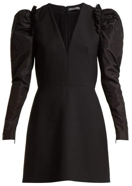 V-neck wool-blend dress