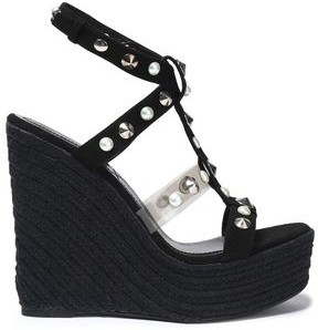 Nicholas Kirkwood Embellished Suede And Pvc Espadrille Wedge Sandals