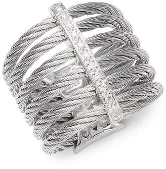 Alor Women's Cable 18K White Gold & Diamond Midi Ring