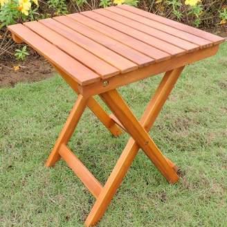 Beachcrest Home Nesler Folding Wooden Side Table
