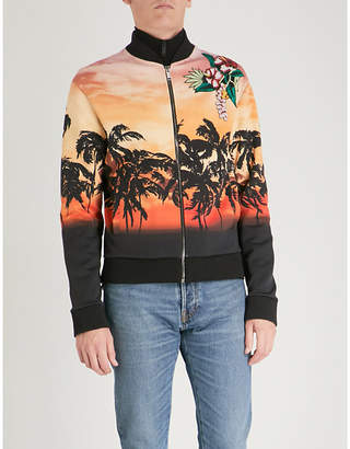 Valentino Palm-tree print cotton-jersey bomber jacket