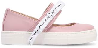 Ermanno Scervino Leather Flats W/ Bow