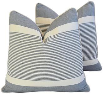 One Kings Lane Vintage French Gray & White Striped Pillows - Pr