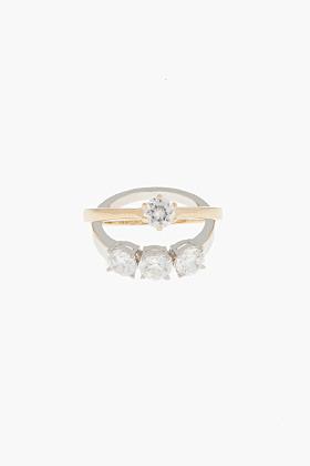 Maison Martin Margiela Gold and crystal mock-Engagement Ring Set