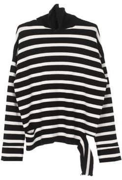 Mo&Co. Striped Turtleneck Sweater
