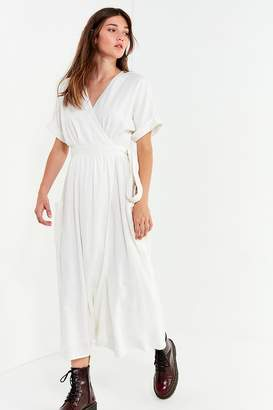 Urban Outfitters Gabrielle Linen Midi Wrap Dress