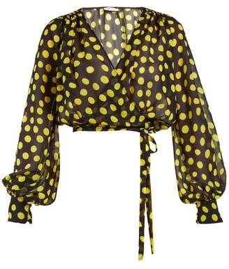 ATTICO Polka Dot Georgette Wrap Top - Womens - Black Yellow