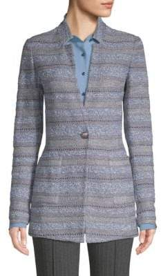 St. John Heathered Striped Tweed Jacket