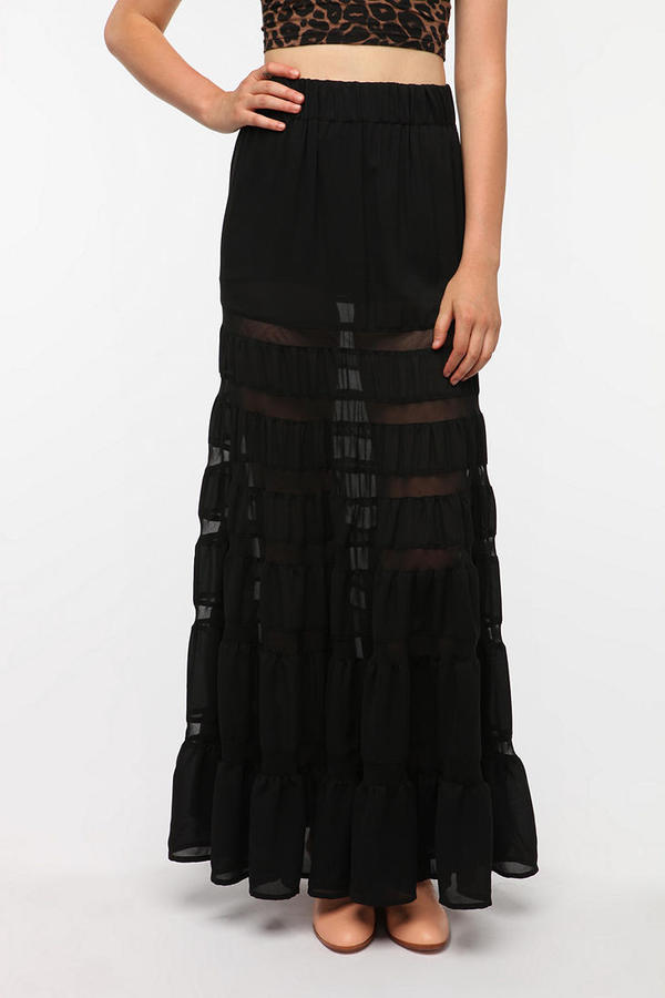 Staring at Stars Full Tiered Chiffon Maxi Skirt