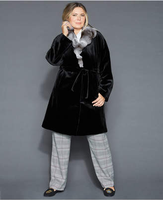 The Fur Vault Plus Size Chinchilla-Collar Sheared Mink Coat