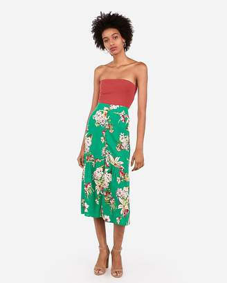 Express Super High Waisted Floral Button Front Midi Skirt