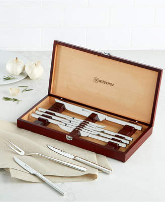 Wusthof 10-Piece Steak Knife and Carving Set in Rosewood-Colored Presentation Chest
