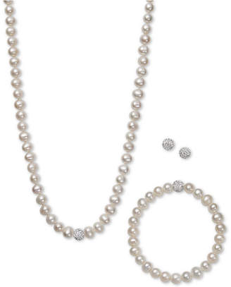 Macy's White, Gray or Pink Cultured Freshwater Pearl (7mm) & Crystal Collar Jewelry Set