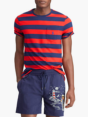 c4ccd83a5 at John Lewis and Partners · Ralph Lauren Polo Short Sleeve Stripe Pocket T- Shirt, Cruise Red/New Navy