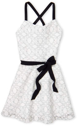 Sally Miller Couture (Girls 7-16) White The Emerson Belted Lace Dress