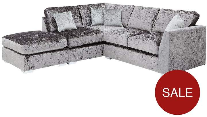 Ideal Home Shimmer Left-Hand Corner Chaise Sofa With Footstool