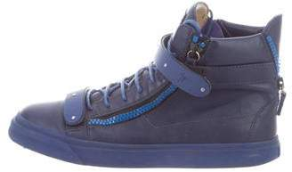 Giuseppe Zanotti Round-Toe Leather High-Top Sneakers