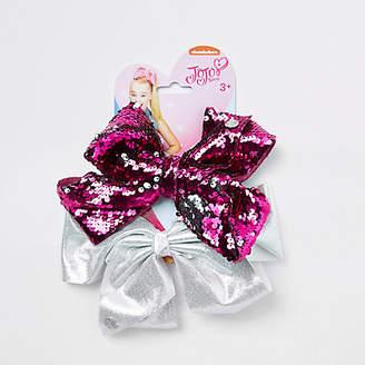 Jo-Jo Jojo Bows Girls embellished pink and silver JoJo bows