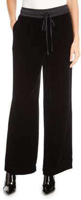 Frame Velvet Drawstring Wide-Leg Track Pants