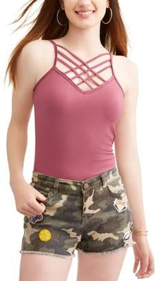 Eye Candy Juniors' Peached Jersey Caged Cami