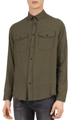 The Kooples Military Distressed Regular Fit Button-Down Shirt