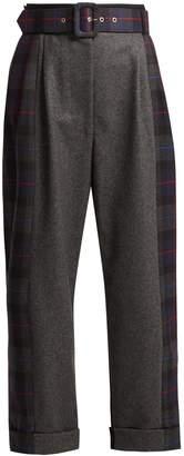 Isa Arfen Tartan-panelled wool wide-leg trousers
