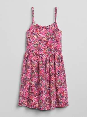 Gap Print Shirred-Waist Dress