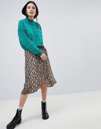 Bershka snake print midi skirt