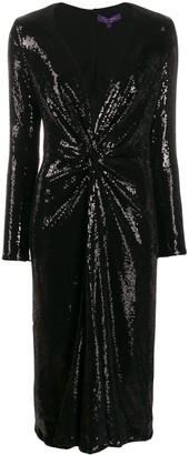 Ralph Lauren sequin embroidery midi dress
