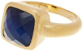 Rivka Friedman 18K Gold Clad Faceted Square Navy Cat's Eye Crystal Petite Stack Satin Ring